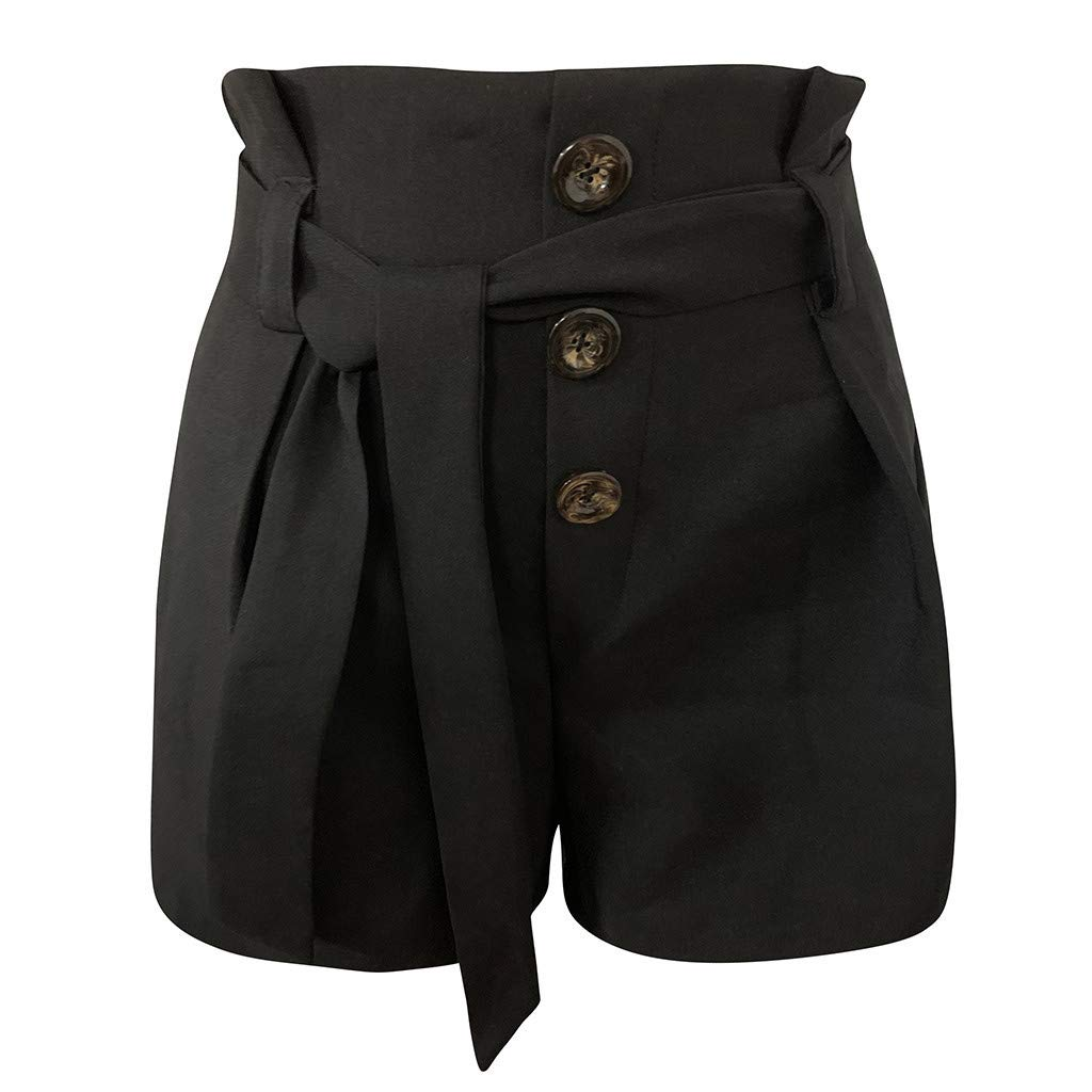 HENWERD Womens High Waist Pull-On Slimming Tab Short Belted Beach Shorts Pants