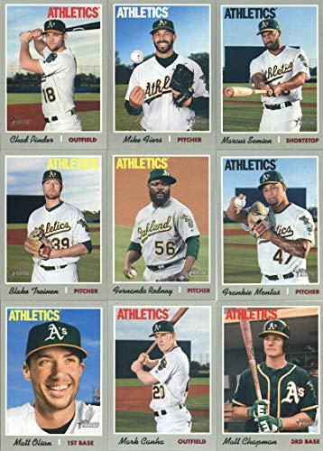 Autograph Athletics Oakland - 2019 Topps Heritage Baseball Oakland Athletics Team Set of 14 Cards: Daniel Mengden(#11), Nick Martini/Ramon Laureano(#21), Yusmeiro Petit(#41), Lou Trivino(#55), Mark Canha(#102), Matt Chapman(#120), Dustin Fowler(#140), Marcus Semien(#205), Blake Treinen(#233), Chad Pinder(#259), Mike Fiers(#287), Fernando Rodney(#311), Frankie Montas(#325), Matt Olson(#331)