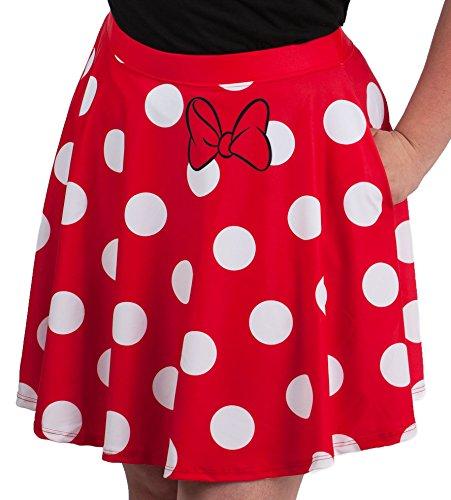 Disney Minnie Mouse Juniors Skater Skirt (Medium, (Womens Minnie Mouse Dress)