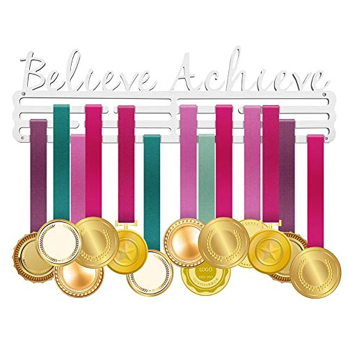 (ULwysd Sports Medal Hanger Display Holder Rack Hook for 50 Medals -Believe and Achieve -Brushed Stainless Steel - (16