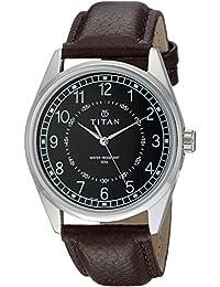 Titan Men's 'Neo' Quartz Metal and Leather Casual Watch, Color:Black (Model: 1729SL02)