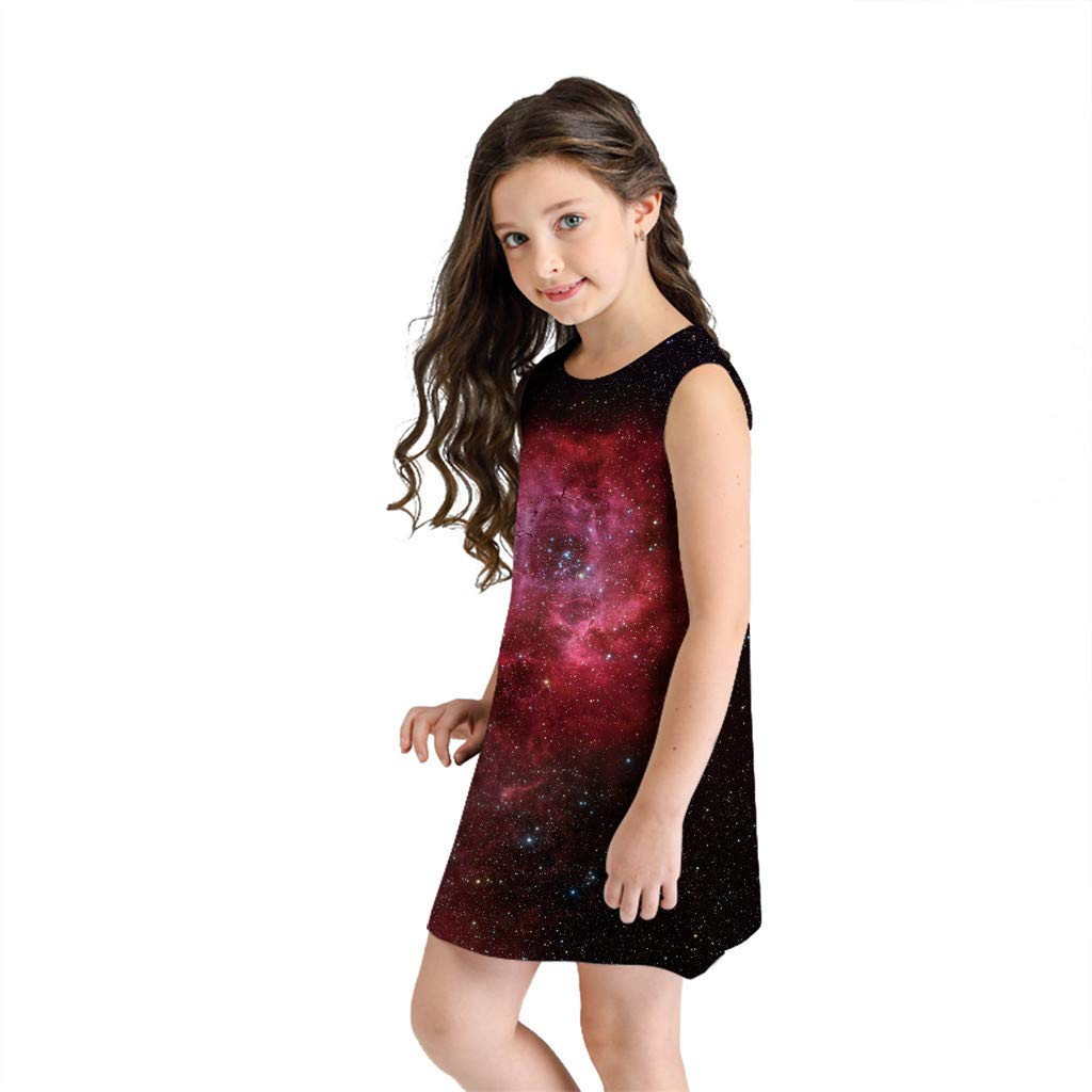 NUWFOR Teen Toddler Kid Girl Summer Sleeveless 3D Print Cartoon Dresses Casual Clothes(Black,8-9 Years)