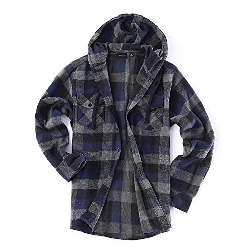 (Men's Lightweight Flannel Long Sleeve Plaid Fleece Shirt with Hoodie (XX-Large, T-Charcoal,Navy))