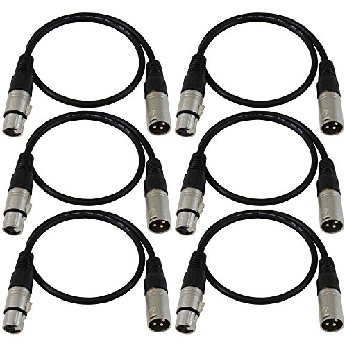 GLS Audio 2ft Patch Cable Cords - XLR Male To XLR Female Black Cables - 2' Balanced Snake Cord - 6 PACK - Xlr Male Patch Cable