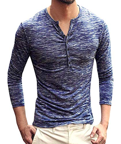 Neoyowo Men's Henley Shirt Casual Slim Fit Long Sleeve T-Shirt Soft V Neck Buttons Muscle Tops (Navy Blue, L)