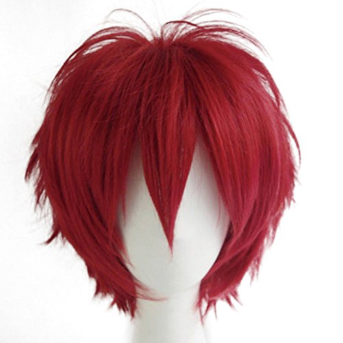 Short Fluffy Anime Wigs for Women Men 21 colors Spiky Unisex Comic Wigs with Oblique Bangs for Halloween Cosplay Costume Party with Free Wig Cap Dark Red (Local Halloween Costumes)