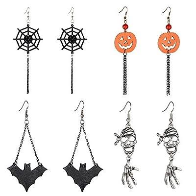 iWenSheng Halloween Set of 4 Pairs Long Skull Cobweb Spider Pumpkin Bat Dangle Earrings for Women Girls Kids Fashion Tassel Drop Earring Set