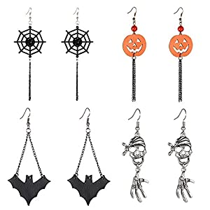 Halloween Dangle Earrings Set – Pack of 4 Pairs Halloween Costume Earring for Women Girls Kids Long Skull Cobweb Spider Pumpkin Bat Tassel Drop Earrings Jewelry Set, Hypoallergenic