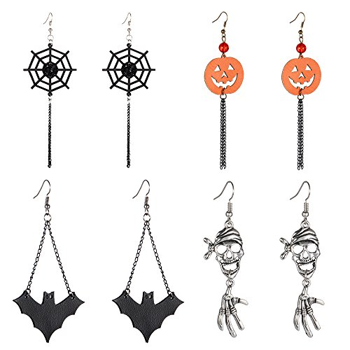 Halloween Dangle Earrings Set - Pack of 4 Pairs Halloween Costume Earring for Women Girls Kids Long Skull Cobweb Spider Pumpkin Bat Tassel Drop Earrings Jewelry Set, Hypoallergenic