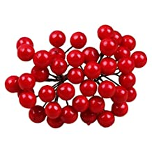 C-Pioneer 40pcs Artificial Berries Pick Holly Branch Wreath Decoration Craft 10cm (Red)
