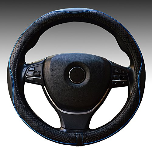 Genuine Leather Car Steering Wheel Cover 15 inch Universal Auto Interior Accessories Protector Anti-Slip Black with Blue Line (blue)