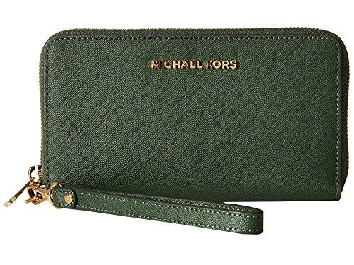 MICHAEL Michael Kors Women's Jet Set Travel Large Flat MF Phone Case Moss Cellphone Case (Warranty Kors Michael Bag)