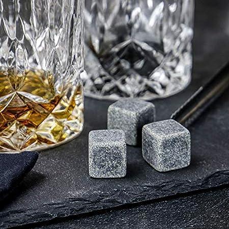 Set de regalo de vidrio para whisky   2 vasos tradicionales   6 piedras de enfriado  Pinzas de hielo   Elegante caja de regalo   Coctelería   Vasos Bourbon & Brandy   M&W