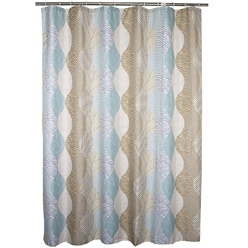 "UPC 769700900699, Ufaitheart Abstract Leaves Pattern 72"" x 72"" Shower Curtain Fabric Bathroom Shower Curtain Sets for Home Decorative, Brown, Beige and Turquoise"