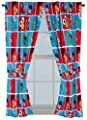 Nickelodeon Teenage Mutant Ninja Turtles 'Mean Green' Blue Curtains/Drapes 4 Piece Set (2 Panels, 2 Tiebacks)