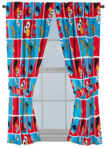 Jay Franco Sesame Street Elmo Cookie Squares 63 inch Drapes 4 Piece Set - Beautiful Room D