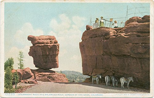 Historic Pictoric Postcard Print | Steamboat Rock and Balanced Rock, Garden of the Gods, Colorado, 1908 | Vintage Fine Art