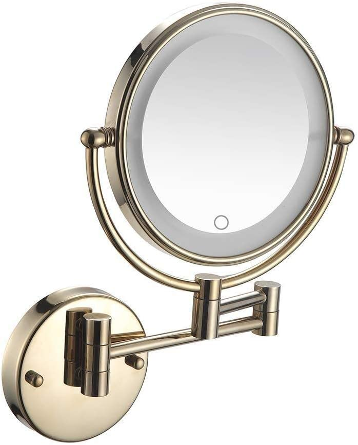 Loupe murale en laiton grossissante /à double face r/églable rasage de meuble-lavabo extensible /à 360 /° dor/é,10X Miroirs de maquillage de salle de bains de 8 pouces
