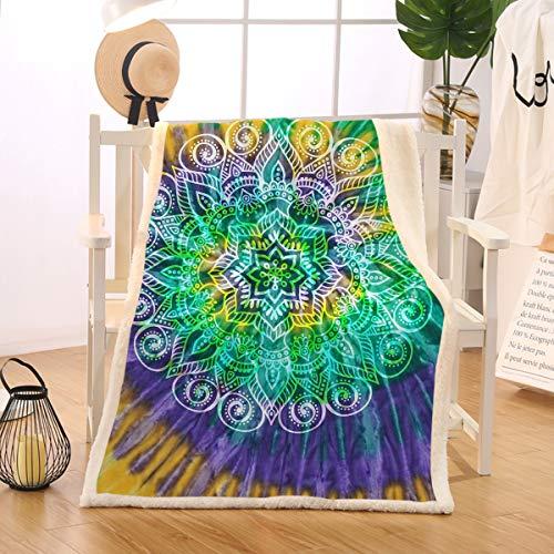 Price comparison product image BlessLiving Lotus Flower Tie Dye Fleece Blanket Neon Green Yellow Purple Bohemian Mandala Soft Tye Dye Blankets (Throw, 50 x 60 Inches)