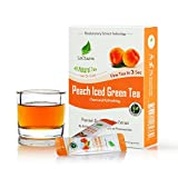 Peach Green Instant Tea on the Go LeCharm 100% Natural Tea Extract, Unsweetened Drink Instant Crystallized Tea Powder for Pure Water, Iced Tea and Hot Tea(10 Sachets)