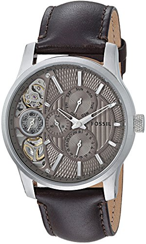 Fossil Men's ME1098 Brown Leather Strap Textured Taupe Cu...