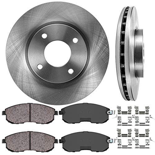 FRONT 280 mm Premium OE 4 Lug [2] Brake Disc Rotors + [4] Ceramic Brake Pads + Hardware