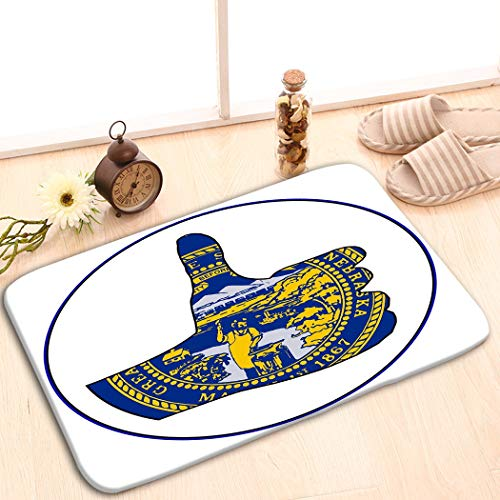 zexuandiy Mats Vintage Fashion Washable Fabric Placemats for Dining Room Kitchen Table Decoration 23.6(L) x 15.7(W) Thumbs up Nebraska White Flag Hand Giving Sign All ov