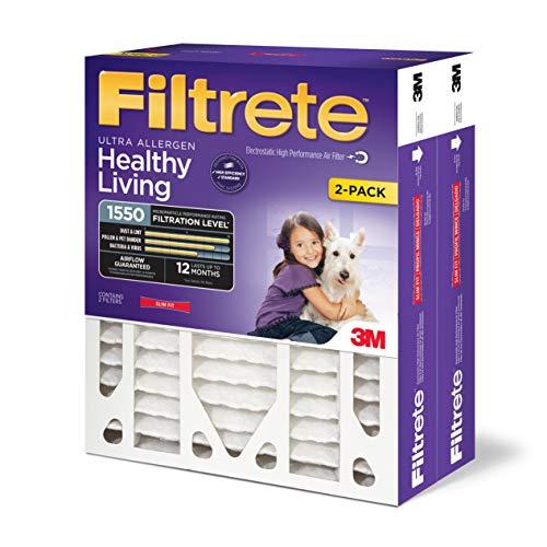 Filtrete NDP03-4S-2P-2 Ultra Allergen Reduction Deep Pleat Filter 20 in x 25 in x 4 in 2 ea/pk, 20 x 25 x 4 (Slim Fit) (Renewed) ()