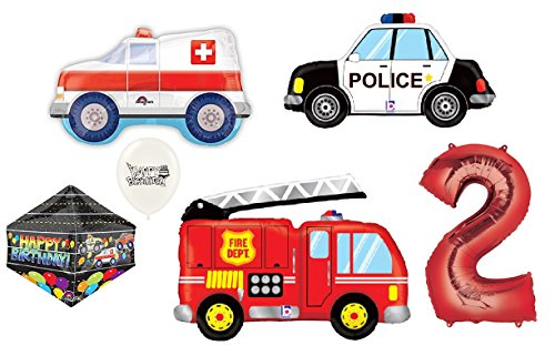 Red Number (1st-9th Birthday option) Rescue Team Ambulance