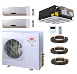 3 ton 18 seer heat pump - YMGI Tri Zone - 36000 BTU 3 Ton 21 SEER (9K+9K+18K) Wall Mount plus Ceiling Suspension Ductless Mini Split Air Conditioner with Heat Pump for Home, Office, Apartment