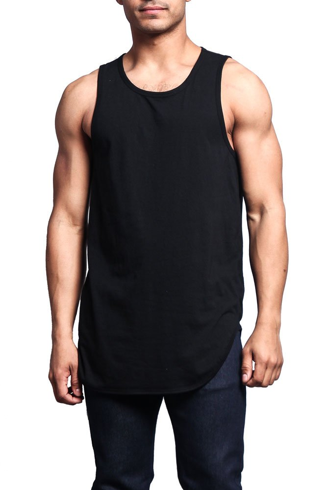 Victorious Solid Color Long Length Curved Hem Tank Top TT47 - BLACK - Large - A1D - A8D by Victorious