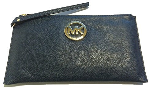 Michael Kors Fulton LG Zip Clutch Navy - Michael Burberry