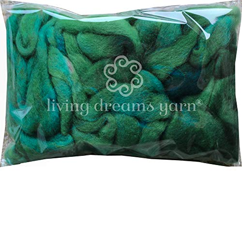 Wool Roving Hand Dyed. Super Soft BFL Combed Top Pre-Drafted for Easy Hand Spinning. Artisanal Craft Fiber ideal for Felting, Weaving, Wall Hangings and Embellishments. 1 Ounce. Myrtle Green
