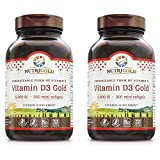 Nutrigold Vitamin D3 5000 IU,(GMO-free, Preservative-free, Soy-free, USP Grade Natural Vitamin D in Organic Olive Oil) - Pack of 2 (360 each, 720 total)