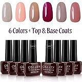 Gellen UV Gel Nail Polish Kit 6 Pastel Colors + Base Coat