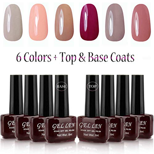 Gellen UV Gel Nail Polish Kit 6 Pastel Colors + Base Coat