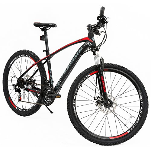 Murtisol Suspension Mountain Bike 27.5''Hybrid Bicycle with Dual Disc Brake,21 Speeds Derailleur,Commuter Bike Designed Solid Frame,Adjustable Seat in 3 Colors,Red Black