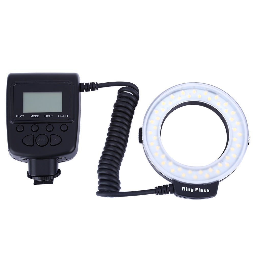 Macro Led Ring Light With LCD Display Power Control LED Ring Flash for Canon Nikon DSLR Cameras with Blue, Orange, Oyster White Flash Diffuser