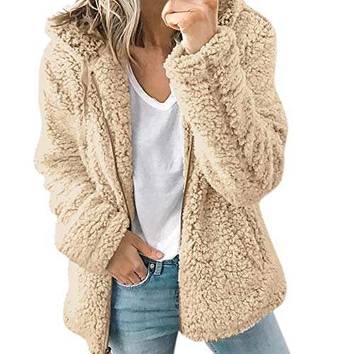 Orangeskycn Women's Casual Thick Hooded Sherpa Jacket Warm Parka Outwear Overcoat