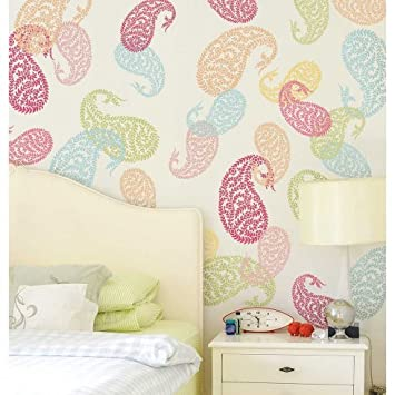 Jaipur Paisley Wall Art Stencil   Small   Indian Design Stencils   Reusable  Stencils For Walls