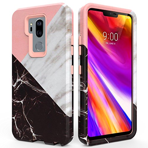 LG G7 Case,LG G7 ThinQ Case,SLMY(TM) Fashion Marble Armor Shockproof Heavy Duty Shock Resistant Hybrid Soft Silicone Hard PC Cover Case for LG G7 ThinQ 2018-Marble Rose Gold
