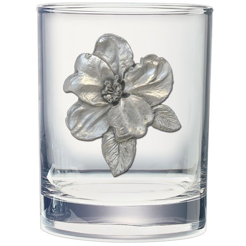 2pc, Pewter Apple Blossom Double Old Fashioned Glass ()