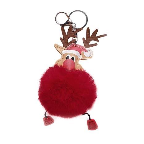Scrox 1x Navidad Llavero Originales Elk Colgante Cadena de Clave Pelo de Conejo Llavero para Pareja Lindo Bola de Pelo Llaveros Regalo Navidad ...