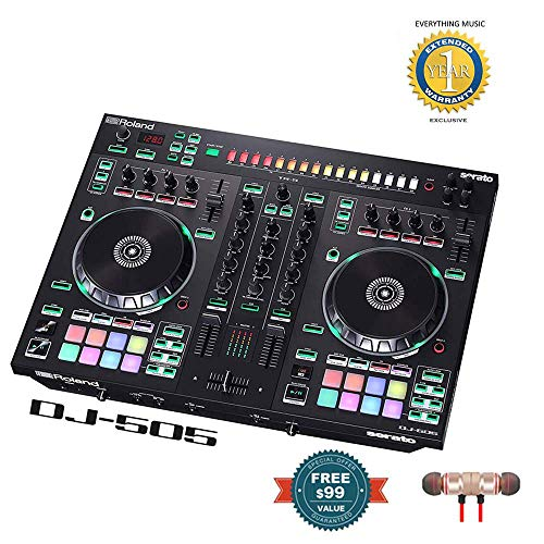 Roland 2-channel, 4-deck Serato DJ Controller (DJ-505) includes Free Wireless Earbuds - Stereo Bluetooth In-ear and 1 Year Everything Music Extended Warranty