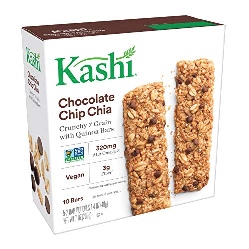 Kashi, Crunchy 7 Grain with Quinoa Bars, Chocolate Chip Chia, Non-GMO Project Verified, 7 oz (10 - Kashi Protein Bars