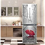 yazi Customized Door Fridge Sticker Closet Cover DIY Self Adhesive Removable Waterproof Vinyl Sticker for Refrigerator Covering Full Door Wall Decal Hallway Mural 23x70 Inch Paris In the Rain