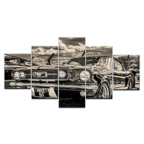 Karen Max Modular HD Print Artwork Modern Sports Car Poster Home Decor Car Wall Art 5 Pieces Pictures 1965 Ford Mustang Canvas Painting Artwork (Size 3:16x24inchx2,16x32inchx2,16x40inchx1 Frame)