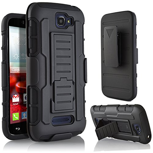 Alcatel One Touch Fierce 2 Case, StarShop IRobot Dual Layer Holster Case with Kickstand and Locking Belt Swivel Clip+Premium Screen Protector Black