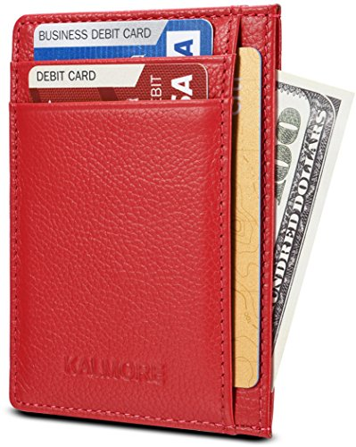 KALMORE Genuine Leather RFID Protected Slim & Thin Pocket Wallet Minimalist Wallet Money Clip (Red)