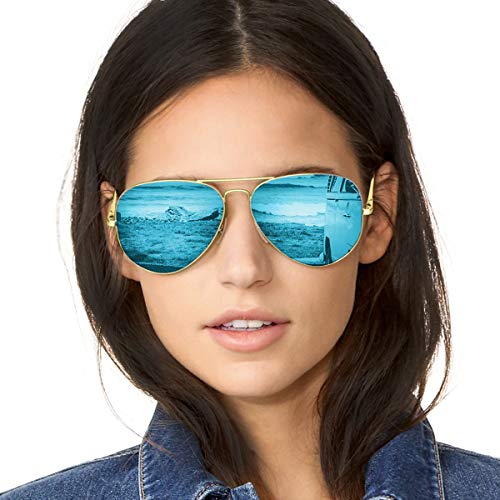 Mirrored Aviator Sunglasses Polarized for Women with Metal Frame-100% UV Protection (Gold Frame/Blue Lens(Mirror)) ()